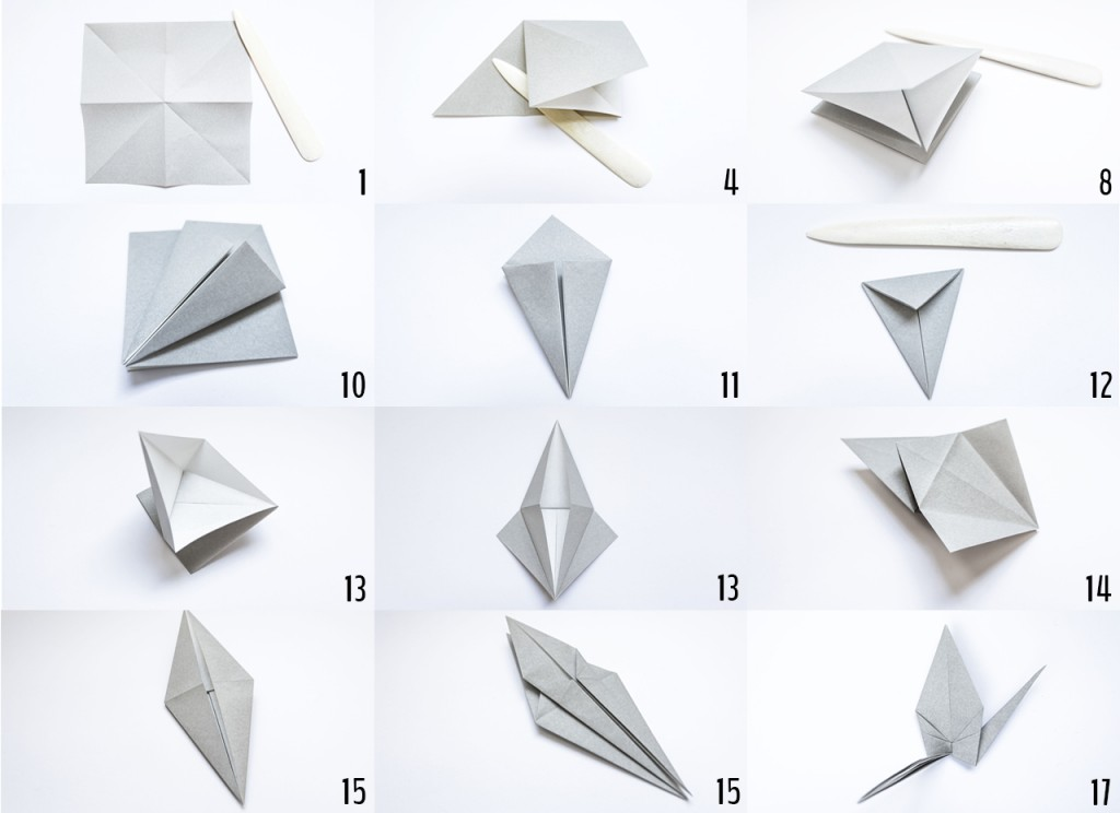Folding steps for building your origami good luck charm