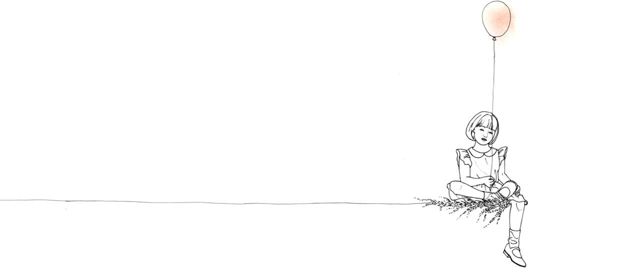 Illustration petite fille sur ligne, portant un ballon coloré