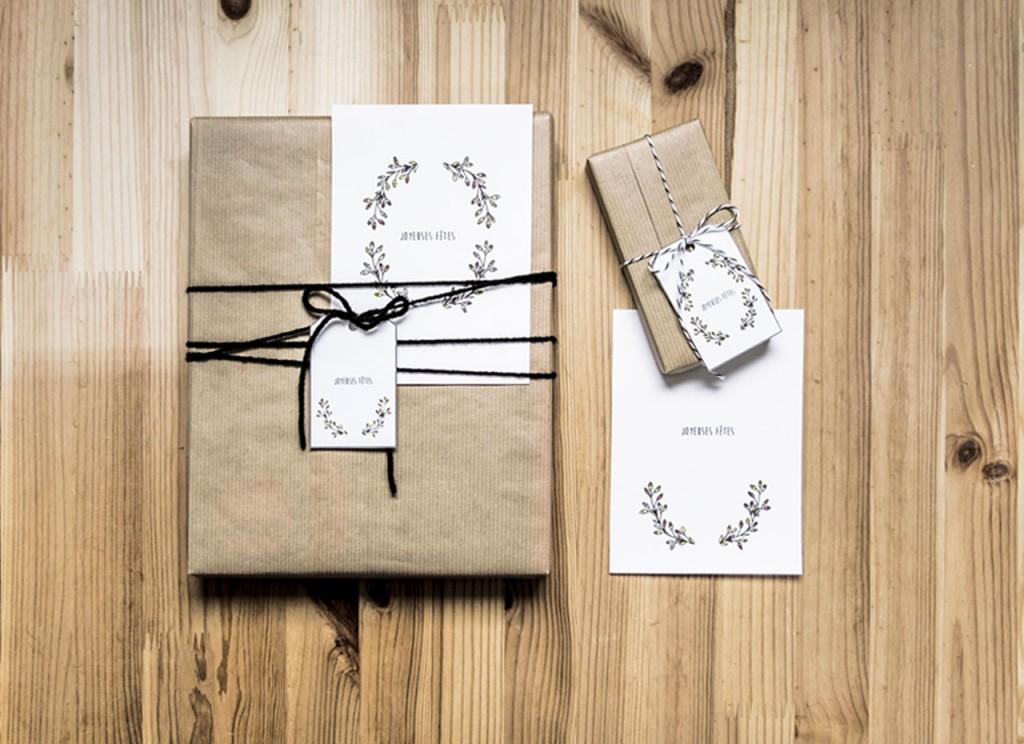 Paquet cadeau 3, étiquette et carte de voeux