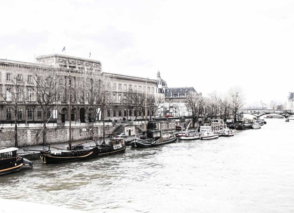 Barges along the Seine River in Paris