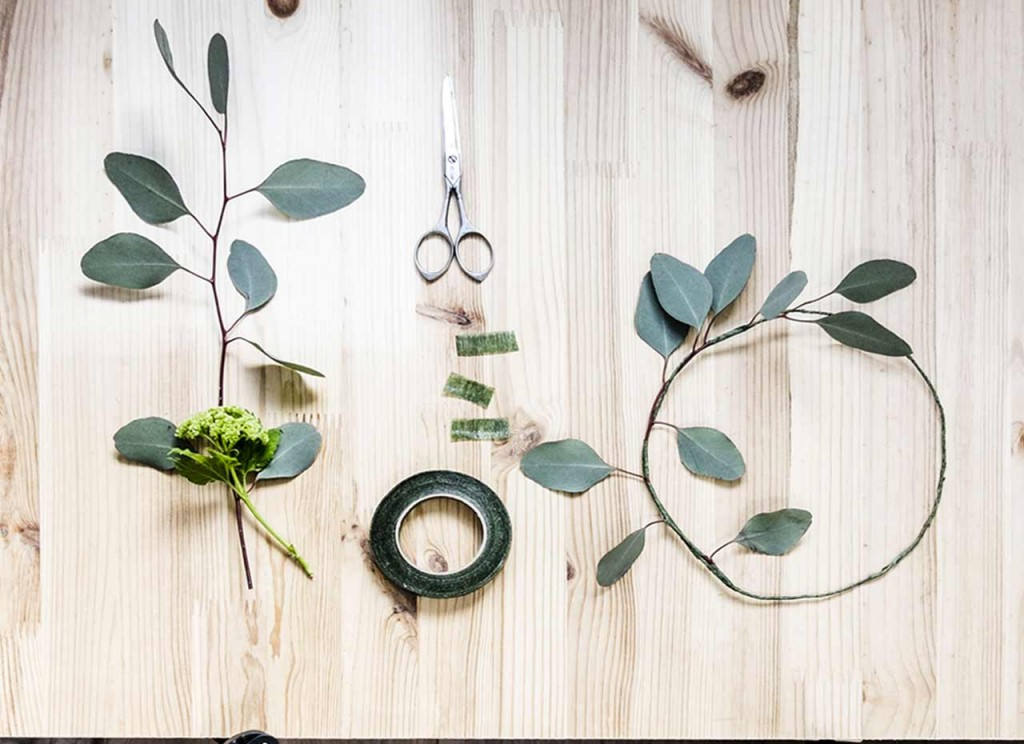 Steps on How to create DIY Spring Crown with foliage and ribbon