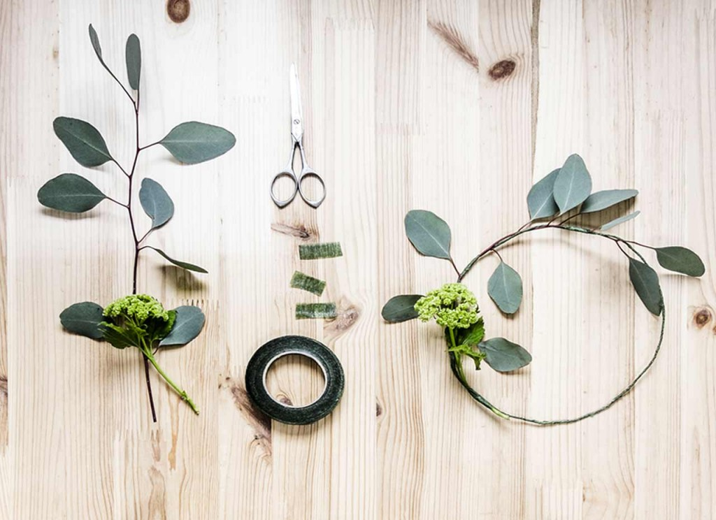 How to make Spring Crown using Eucalyptus branches and foliage