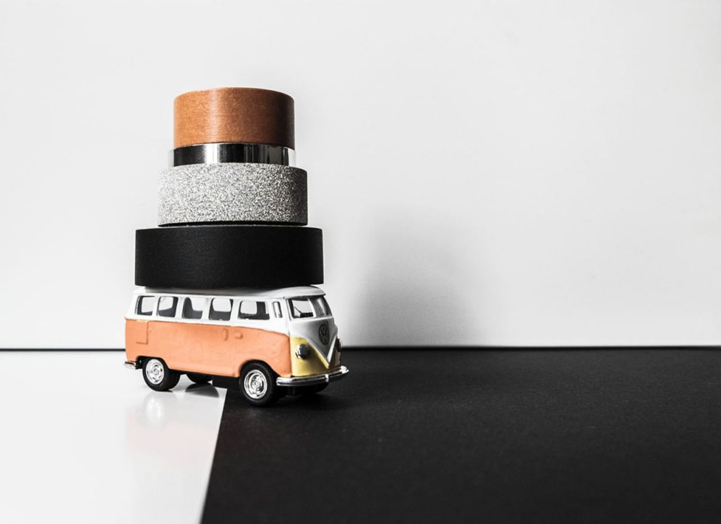 Volkswagen Kombi Transporter car carrying masking-tape