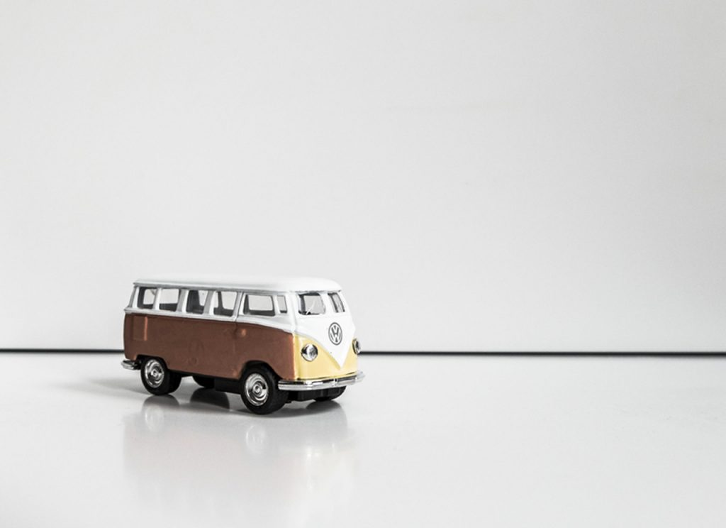 Mini Volkswagen Kombi Transporter car white and yellow