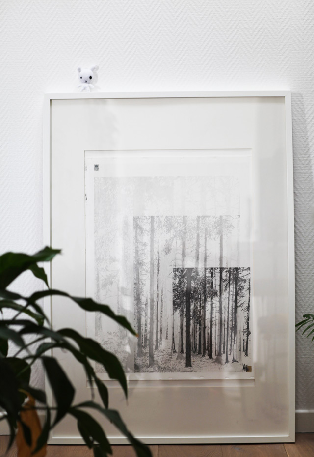 Artiste Violaine Thel : Painting et drawings forest white frame