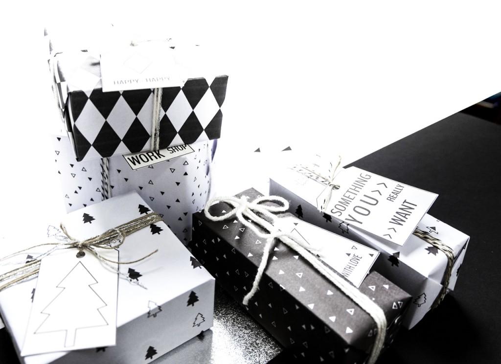 Paquets cadeaux en graphique (Noir et Blanc)