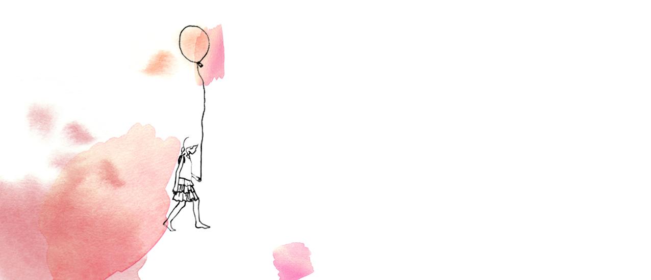 Illustration petite fille portant ballon gonflable